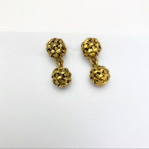 Earrings Gold Knot Drop Costume Brushed Gold Post